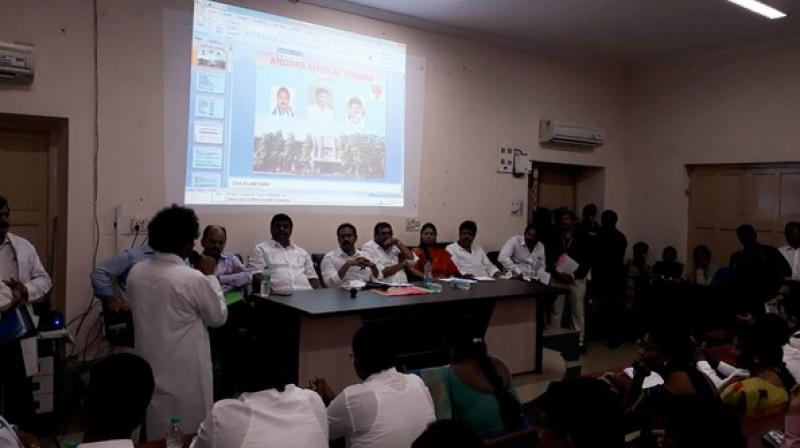 Speaking at a review meeting after visiting King George Hospital and Andhra Medical College here, he said that the health sector was the top priority for the state government. (Photo: Twitter/ @IPR_AP)