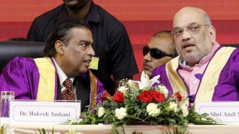 Businessman Mukesh Ambani on Thursday hailed Union Home Minister Amit Shah calling him a 'true karmyogi' and 'Iron Man of India', reported news agency IANS. (Photo: File)