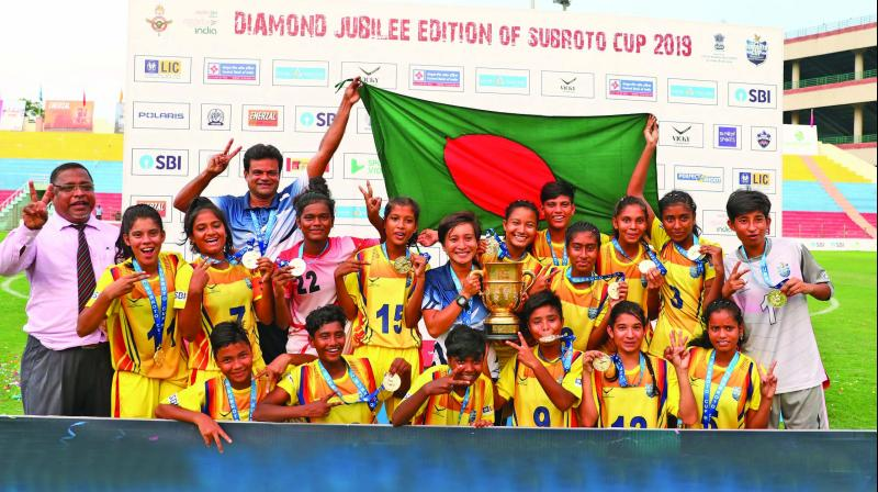 Bangladesh Krida Shiksha Prothishtan successfully defended their title by defeating Nilmani English School, Manipur, by a score line of 4-0 in the final of the Subroto Cup International U-17 girls football tournament at the Ambedkar Stadium on Friday.