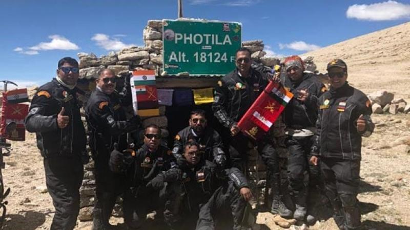 An eight-member expedition of the Indian Army Medical Corps (AMC) scaled eight of the world's highest passes and rode over 1500 kilometres in Ladakh as a part of the AMC Motorcycle Expedition, the Indian Army said on Saturday. (Photo: ANI)