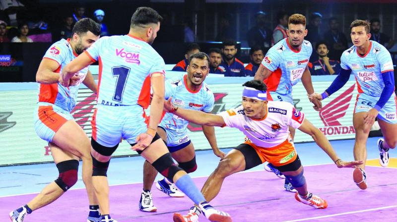 Puneri Paltan played Do-or-Die raids towards the end of the match but they fell short at the end`.