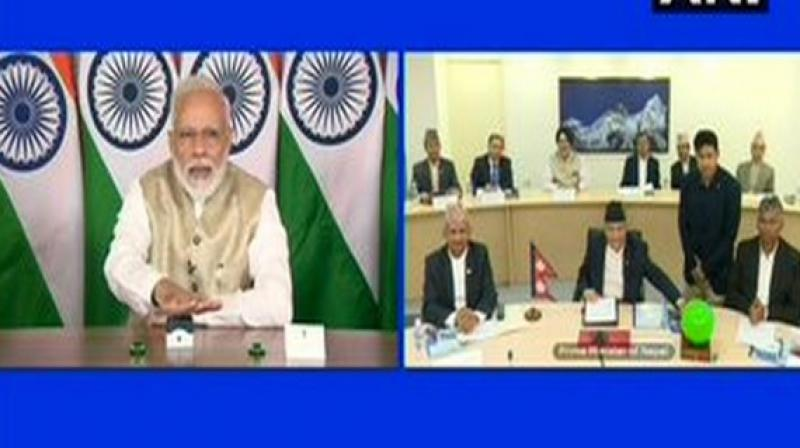 Prime Minister Narendra Modi jointly inaugurated the India-Nepal cross-border petroleum pipeline with Nepal Prime Minister KP Sharma Oli via video conferencing on Tuesday. (Photo: ANI)