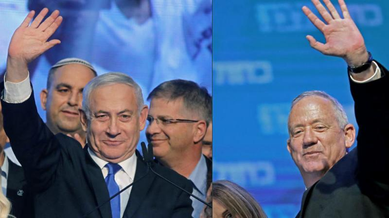 Blue and White remains the largest party with 33 seats, ahead of Likud's 32 out of parliament's 120. (Photo: AFP)