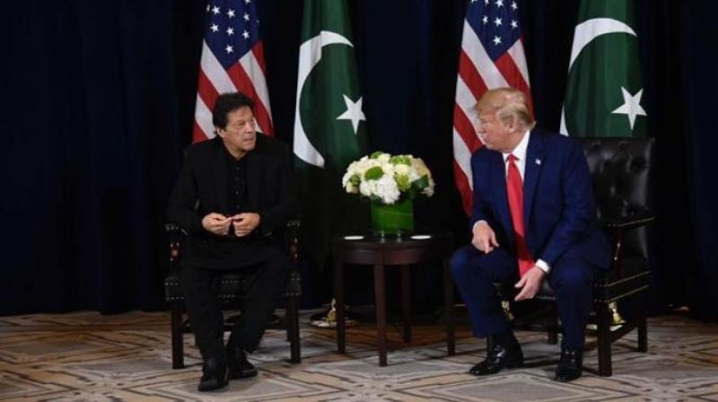 US President Donald Trump third time renewed his offer of arbitration between India and Pakistan on Monday ahead of a meeting with Pakistani Prime Minister Imran Khan. (Photo: Twitter/ Pakistan Information Minister)