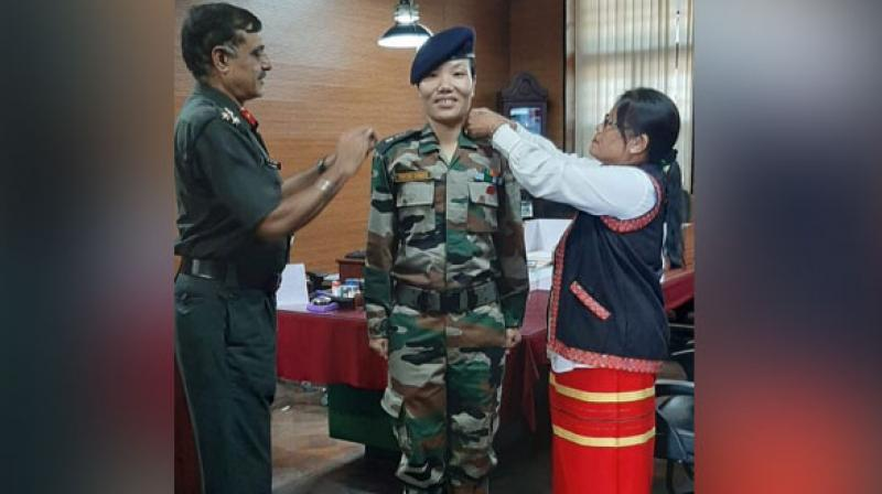 Arunachal Pradesh Chief Minister Pema Khandu on Monday congratulated Army officer Ponung Doming, who became the first woman officer from the state to be elevated to the rank of Lieutenant Colonel in the Indian Army. (Photo: ANI)