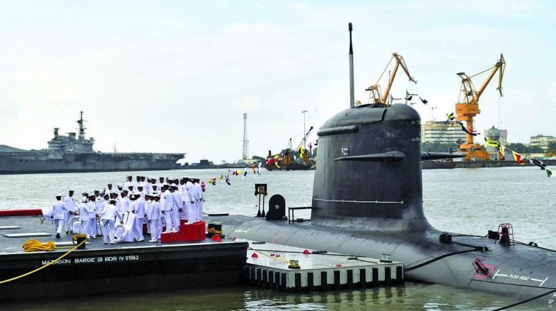 Rajnath Singh Saturday commissioned the indigenously-built second Scorpene-class submarine Indian Naval Ship (INS) Khanderi in Mumbai. (Photo : PTI)