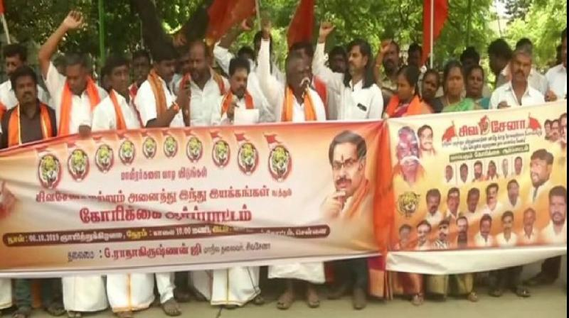 Tamil people are not opposed to Hindi and students in schools and colleges should have the option to study Hindi, said Shiv Sena's state unit chief Radhakrishnan on Sunday. (Photo: ANI)