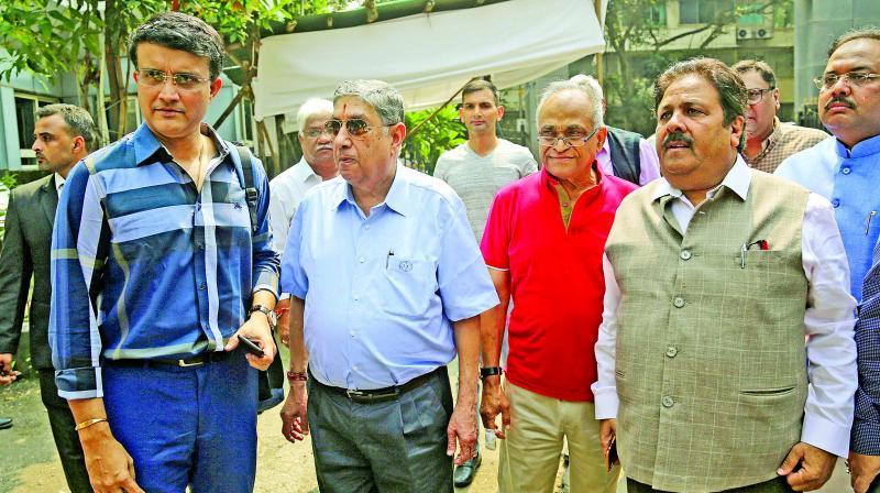 Sourav Ganguly, N. Srinivasan, Niranjan Shah and Rajiv Shukla at the BCCI headquarters in Mumbai. (Photo: PTI)