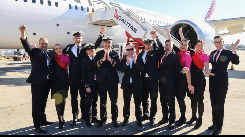 The longest non-stop passenger flight touched down in Australia Sunday morning after more than 19 hours in the air, a milestone journey from New York that Qantas hopes to parlay into commercial success. (Photo: Qantas)