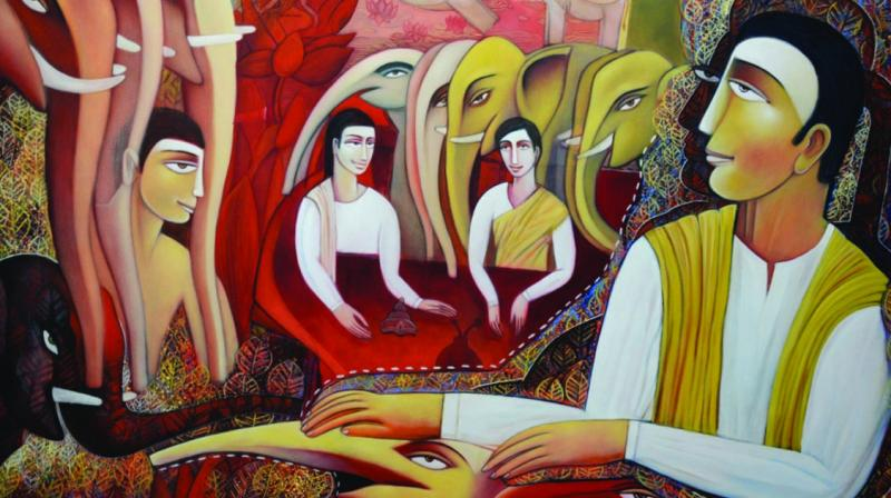 Paintings of Tapan Dash on display at an exhibition