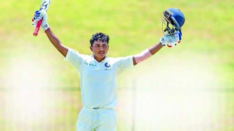 India U-19 player Pavan Shah  celebrates his double hundred against Sri Lanka.