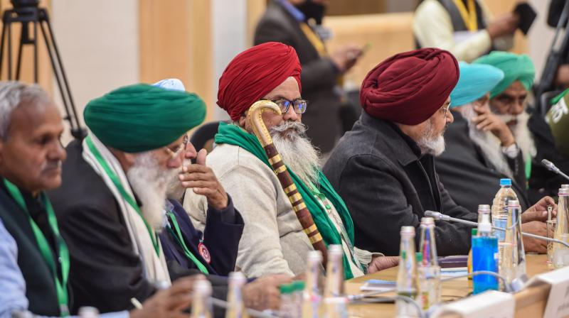 Farmers leaders during a meeting with Union Minister for Agriculture and Farmers Welfare Narendra Singh Tomar (unseen) and Union Minister for Commerce and Industry Piyush Goyal (unseen) over the new farm laws, at Vigyan Bhawan in New Delhi, Wednesday, December. 30, 2020. (PTI)
