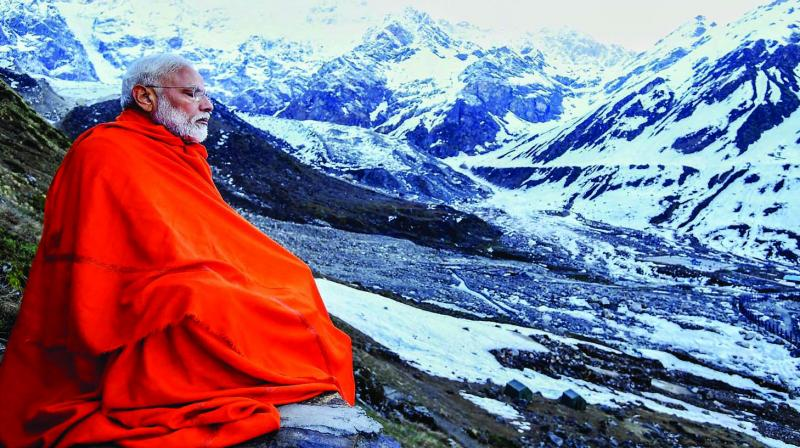 Narendra Modi might pay highly publicised visits to Kedarnath and Badrinath and have himself photographed ostentatiously meditating in a cave, but these are not fundamental departures from the past. (Photo: PTI)