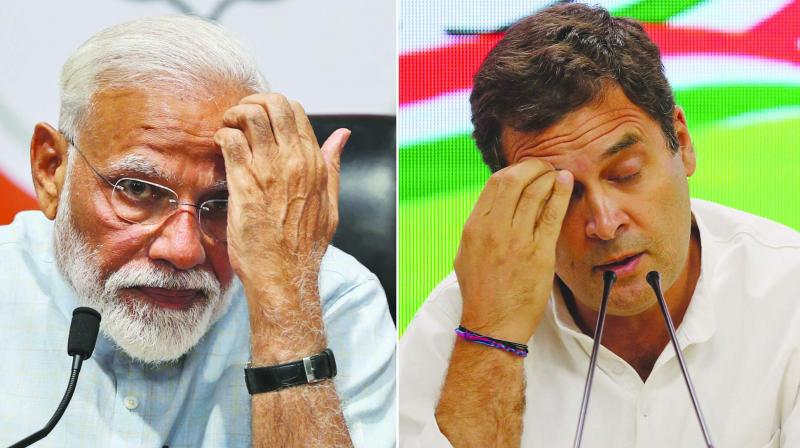 Prime Minister Narendra Modi and Rahul Gandhi during press conferences in their respective party headquarters. (Photo: AP)