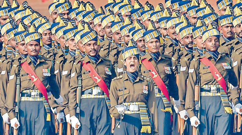 Captain Tania Shergill leading an all-men contingent in the Republic Day parade this year. (PTI)