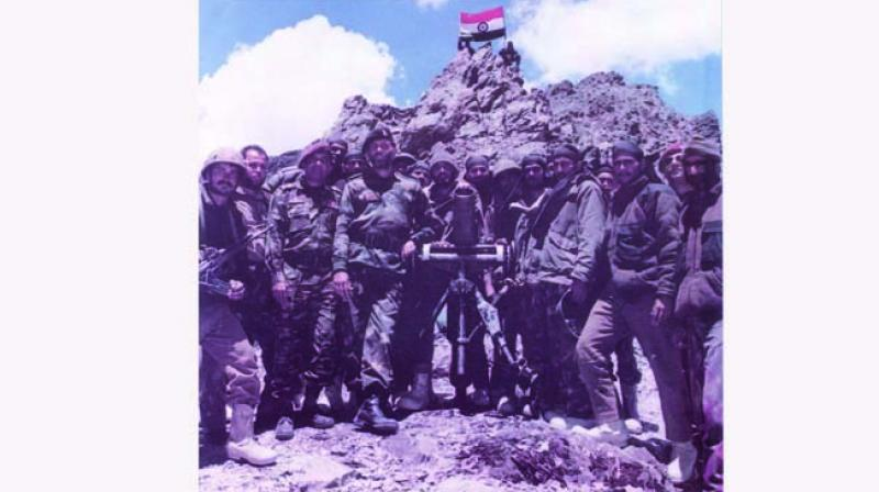 Indian soldiers after winning a battle during the Kargil wa