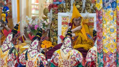 Namgyal Monks dressed in traditional costume performing rituals during the Long Life Offering Ceremony for his holiness the Dalai Lama at the main Tibetan Temple in Dharamshala, Himachal Pradesh, India on July 5, 2019. (Photo: dalailama.com I Tenzin ChoeJor)