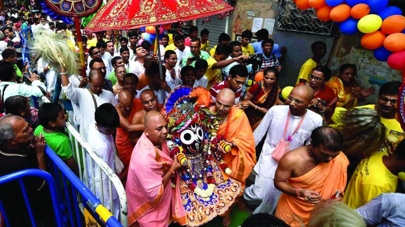 Priests of the 12th century Sri Mandir, the abode of Lord Jagannath, perform a ritual during the annual rath yatra in Puri.
