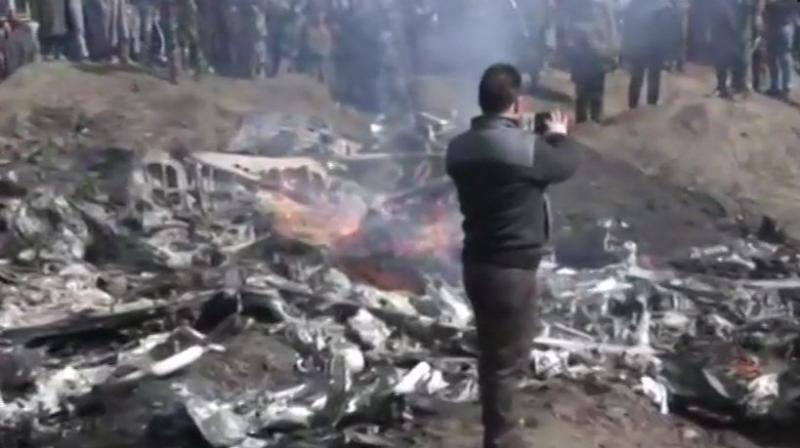 The IAF's MI-17 crashed in an open field near Garend Kalaan village, 7-km way from the district headquarters of Budgam, at 10.05 am, the officials said. (Photo: ANI)