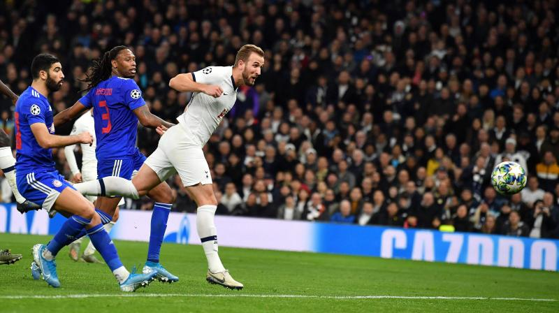 Tottenham looked a different side after the break and Harry Kane struck twice, either side of Serge Aurier's thumping effort, to take his Champions League tally to 20 in a record 24 games — beating the 26 it took Alessandro Del Piero to reach the mark. (Photo:AFP)