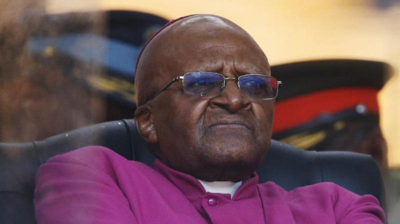 Nobel laureate and anti-apartheid leader Desmond Tutu, 85 and ailing, made a rare public appearance to support the protests. (Photo: AP)