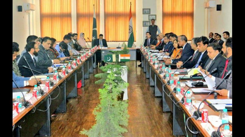 The India and Pakistan officials held the first meeting on Thursday to discuss the modalities and the draft agreement for facilitation of pilgrims to visit Gurudwara Kartarpur Sahib using the Kartarpur Corridor at Attari, India in a cordial environment. (Photo: Twitter/ANI)