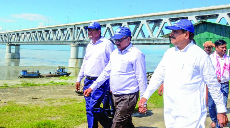 Union minister of state for railways Suresh Channabasappa Angadi inspects the ongoing work at Bogibeel bridge in Dibrugarh on Friday. (Photo: PTI)