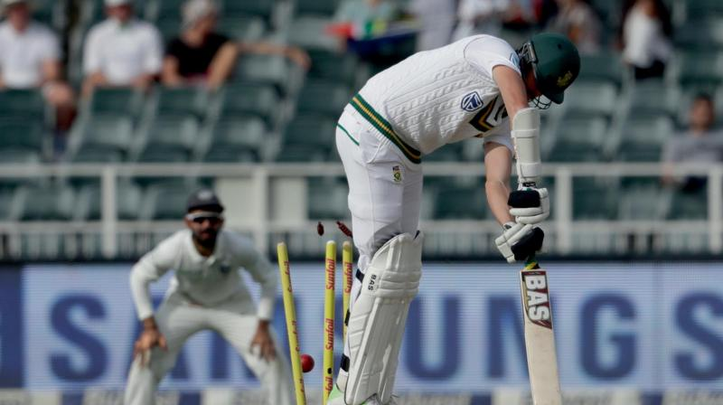 Morne Morkel is bowled by Mohammed Shami on the fourth day of the third Test match between South Africa and India in Johannesburg. (Photo: AP)