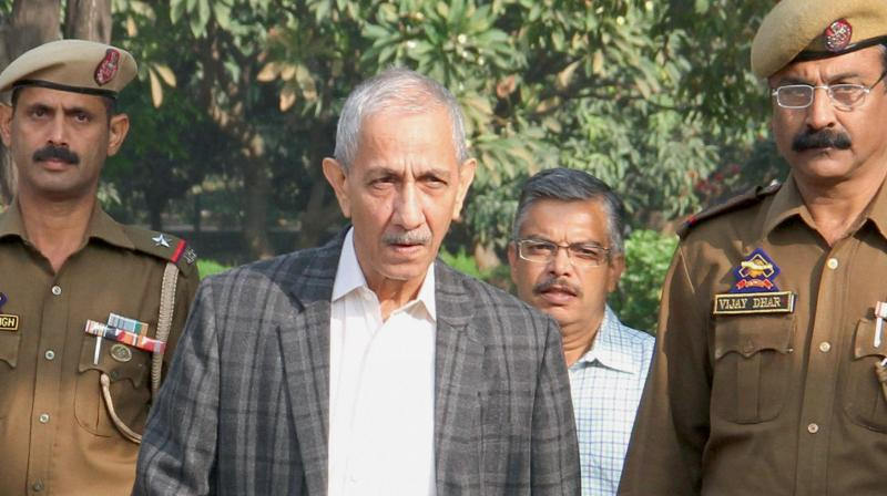 Dineshwar Sharma on his way for a meeting with various delegations in Jammu. (Photo: PTI)