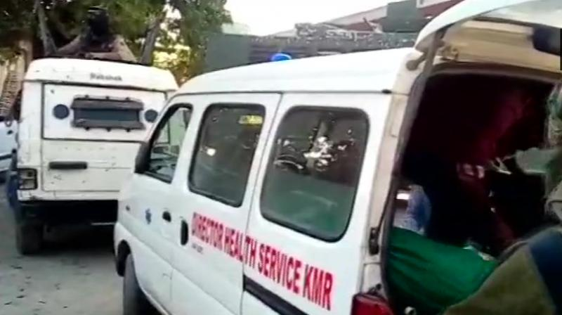 Four policemen on board the vehicle were injured. They were rushed to a nearby hospital where all of them succumbed, the officials said. (Photo: Twitter | ANi)