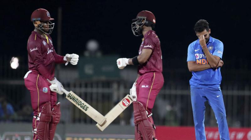 Chasing 288 on a slow surface was expected to be a challenging task but thanks to Hetmyer (139 off 106) and opener Shai Hope (102 not out off 150), the visitors raced to victory in 47.5 overs. (Photo: AP)
