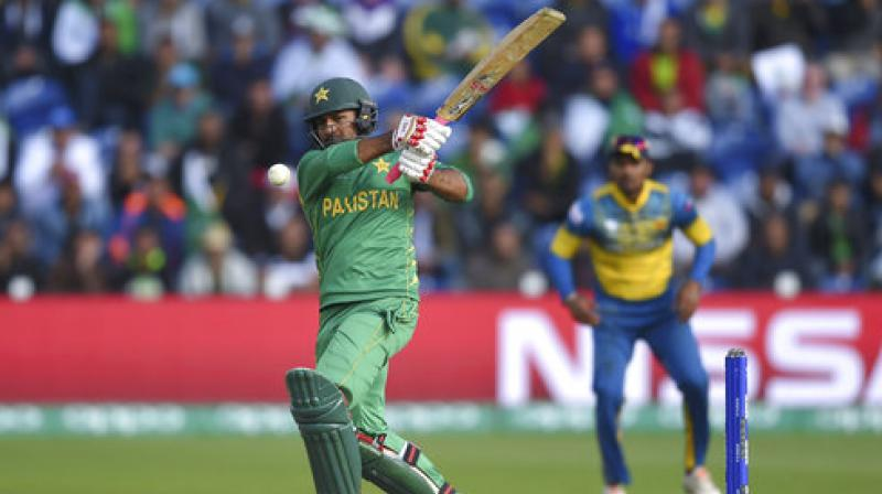 Pakistan's Sarfraz Ahmed hits out during the ICC Champions Trophy, Group B cricket match between Pakistan and Sri Lanka. (Photo: AP)