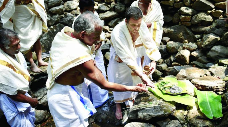 Congress chief Rahul Gandhi offers prayers at Thirunelli temple in Wayanad district on Wednesday.  	(Photo: PTI)