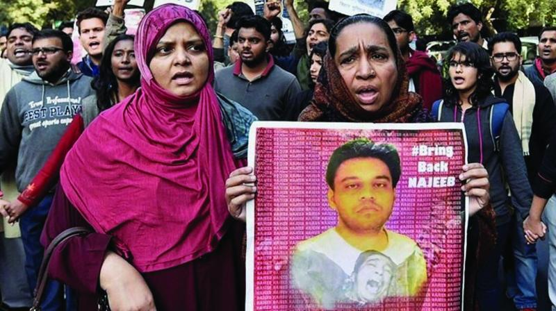 Najeeb Ahmed's mother Fatima Nafees during a protest in New Delhi. (Photo: PTI)