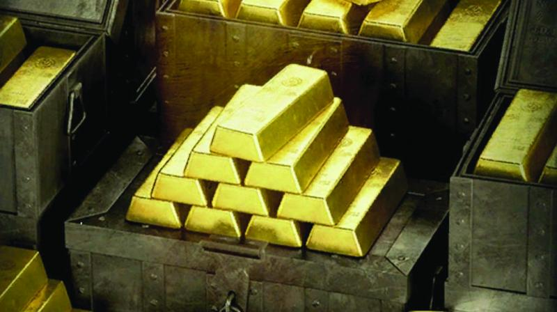 Globally, spot gold was trading lower at USD 1,281.70 an ounce, while silver was down at USD 14.61 an ounce in New York.