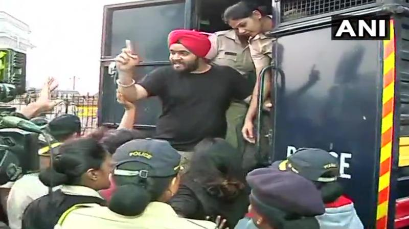 Police had appealed to the protesters to shift but they didn't listen, so they were 'relocated' to Azad Maidan, an official said. (Photo: ANI)