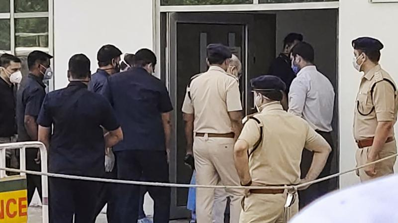 Union home minister Amit Shah enters Medanta Hospital in Gurugram to be admitted after testing postive for COVID-19 on Sunday, Aug. 2, 2020. (PTI)