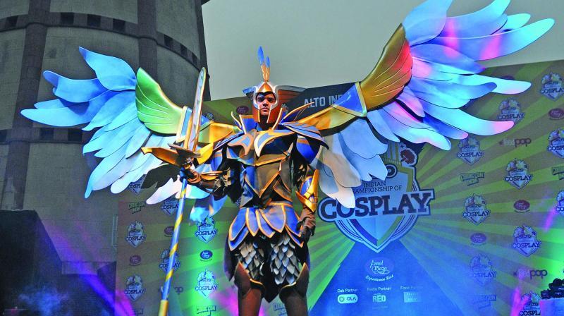 The winner of cosplay championship, Sameer Bundela, dressed as Skywrath from Dota 2