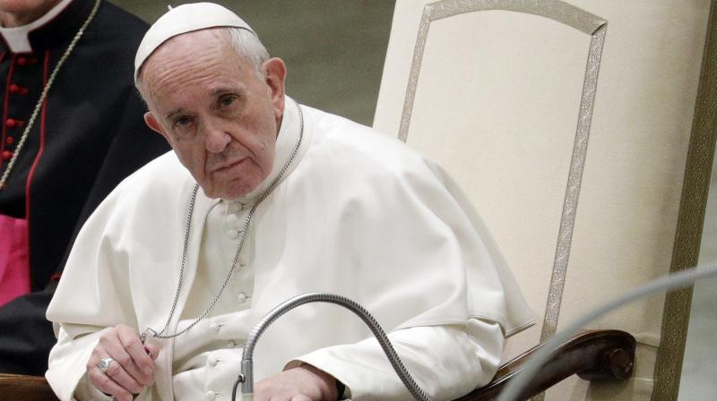 'I have to beg your pardon,' Pope Francis said as he started the address about 10 minutes late. (Photo: AP)