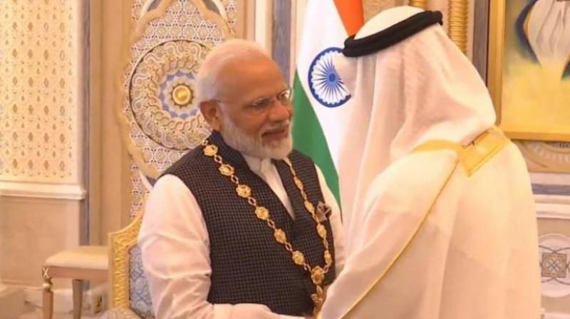 "The ""Order of Zayed""award was conferred on PM Modi by the Abu Dhabi Crown Prince Sheikh Mohamed bin Zayed Al Nahyan in a ceremony held at the Presidential Palace in Abu Dhabi. (Photo: ANI)"