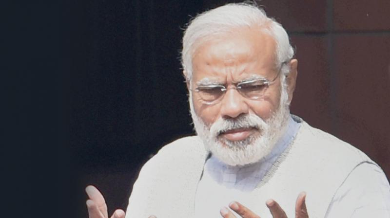 PM Narendra Modi after Cabinet meeting in New Delhi. (Photo: PTI)