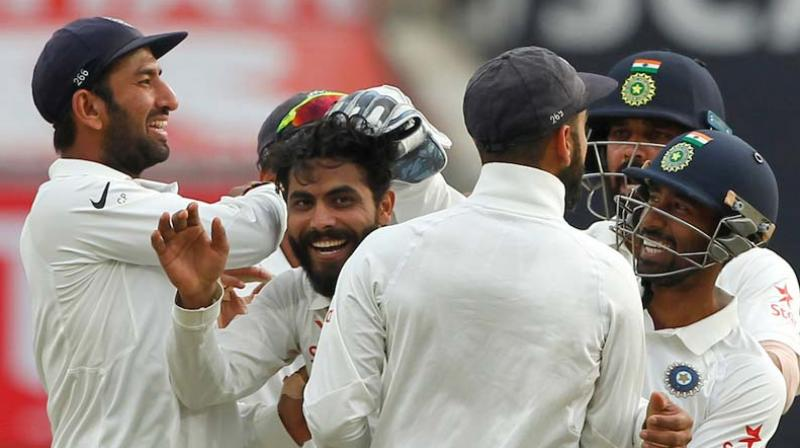 The Saurashtra boys – Ravindra Jadeja and Cheteshwar Pujara – became India's highest-ranked cricketers as the former toppled R Ashwin to become world number 1 bowler in Test while the latter went past Virat Kohli to become world number 2 batsman in the longer format of the game. (Photo: BCCI)