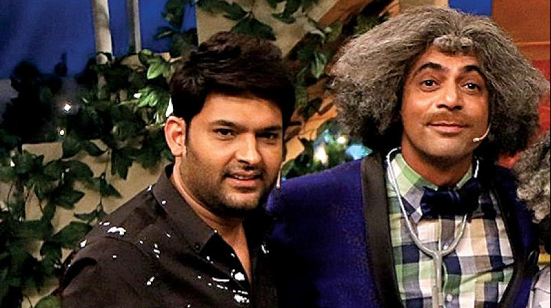 Kapil Sharma and Sunil Grover on the sets of the show.