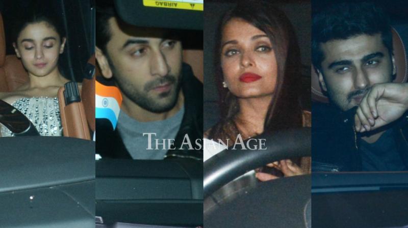 Alia Bhatt, Ranbir Kapoor, Aishwarya Rai Bachchan and Arjun Kapoor arriving for the bash. (Photo: Viral Bhayani)
