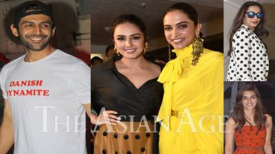 Bollywood celebrities like Deepika Padukone, Kartik Aaryan, Kriti Sanon, Malaika Arora, Huma Qureshi and others were snapped in Mumbai. (Photos: Viral Bhayani)