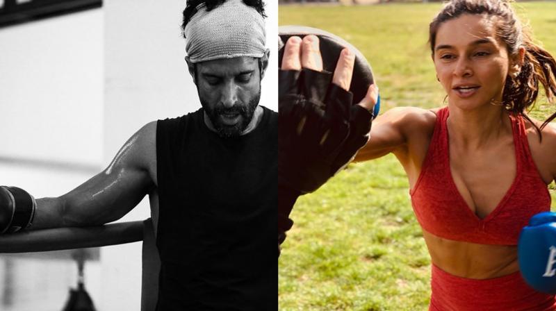 Farhan Akhtar and Shibani Dandekar boxing. (Photo: Instagram)