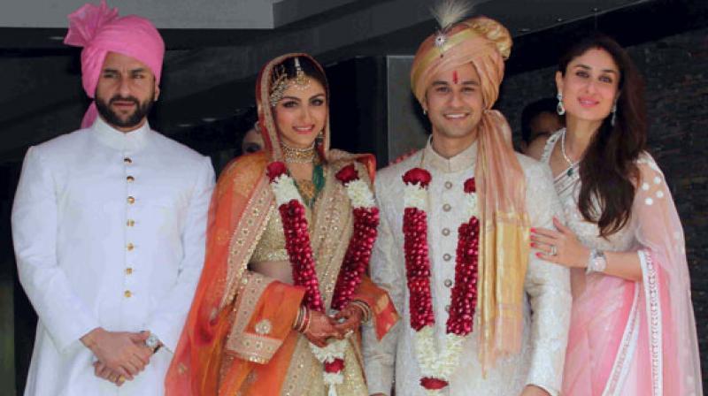 Soha Ali Khan and Kunal Kemmu on their wedding day along with Saif Ali Khan and Kareena Kapoor Khan.