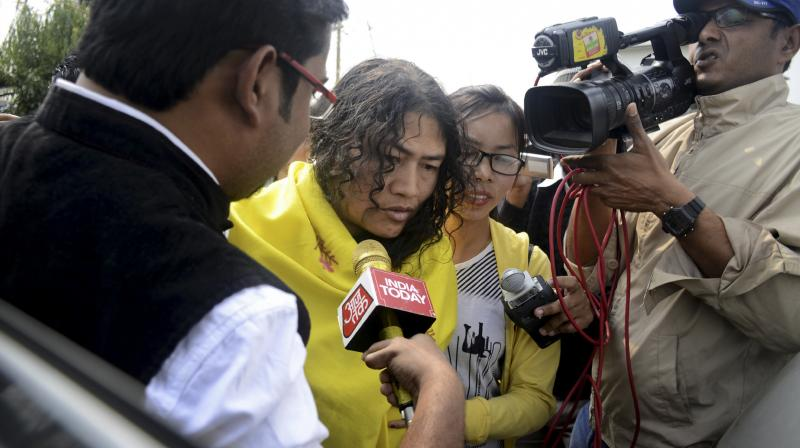 Human rights activist Irom Sharmila, who last year ended her 16-year long fast arrives to cast her vote at a polling booth in Khurai, Imphal, Manipur. (Photo: PTI)