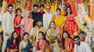 Rana Daggubati and Miheeka Bajaj with family and close friends during the wedding celebrations