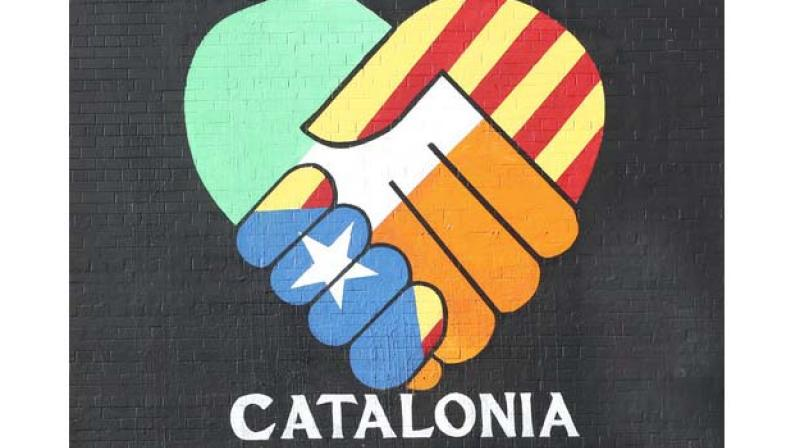 A new pro-Catalan independence mural in Belfast, Northern Ireland, on Wednesday. (Photo: AP)